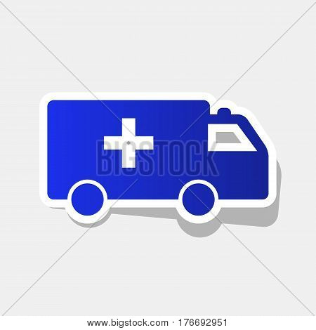 Ambulance sign illustration. Vector. New year bluish icon with outside stroke and gray shadow on light gray background.
