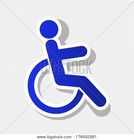 Disabled sign illustration. Vector. New year bluish icon with outside stroke and gray shadow on light gray background.