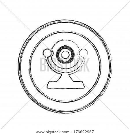 monochrome sketch of desktop webcam in circular frame vector illustration