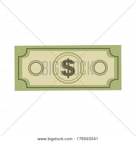 color silhouette with dollar bill vector illustration