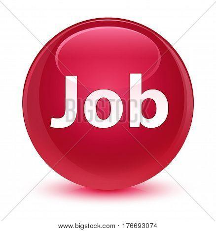 Job Glassy Pink Round Button