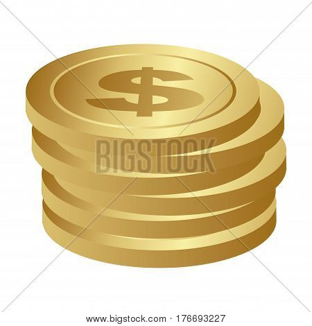 color silhouette with coins row vector illustration