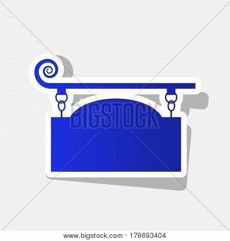 Wrought iron sign for old-fashioned design. Vector. New year bluish icon with outside stroke and gray shadow on light gray background.