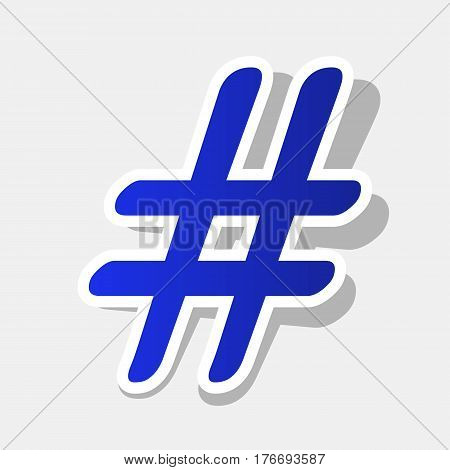 Hashtag sign illustration. Vector. New year bluish icon with outside stroke and gray shadow on light gray background.