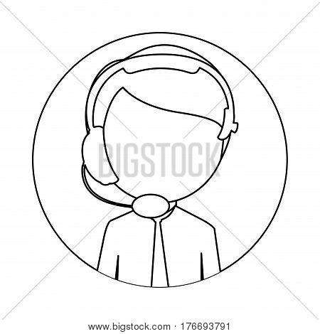 monochrome circular frame with man call center vector illustration