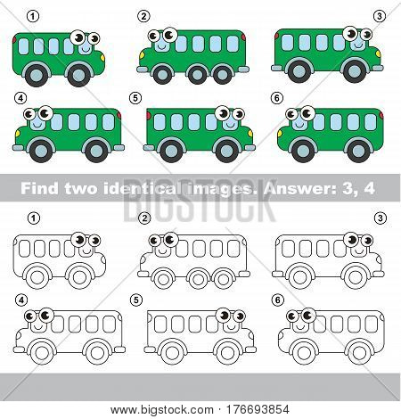 The design difference. Vector visual game for kid education. Simple level of difficulty. Easy educational game. Task and answer. Find two similar Buses.