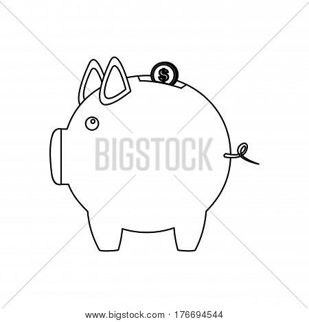 monochrome contour of money box in shape of piggy vector illustration