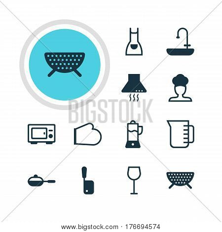 Vector Illustration Of 12 Cooking Icons. Editable Pack Of Oven Mitts, Fruit Squeezer, Smock And Other Elements.