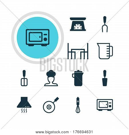 Vector Illustration Of 12 Cooking Icons. Editable Pack Of Spatula, Cook, Jug And Other Elements.