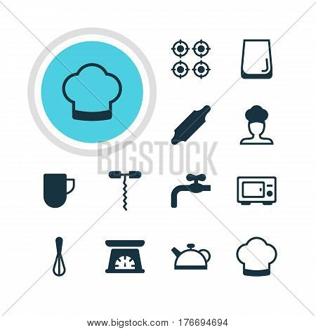 Vector Illustration Of 12 Kitchenware Icons. Editable Pack Of Teakettle, Wine Opener, Chef Hat And Other Elements.
