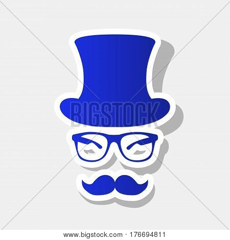 Hipster accessories design. Vector. New year bluish icon with outside stroke and gray shadow on light gray background.