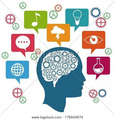 profile head brain thinking innovation vector illustration eps 10