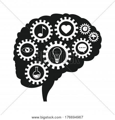 brain gears communication social media vector illustration eps 10