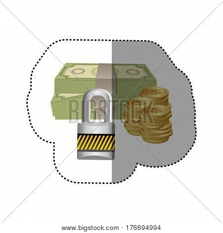 colorful silhouette sticker of bills and coins with padlock protection vector illustration