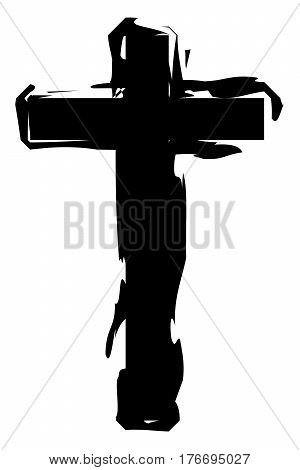 Hand drawn cross icon Religion crucifix paint vector sign