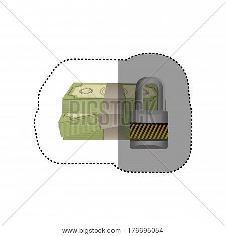 colorful silhouette sticker of stacked bills with padlock protection vector illustration