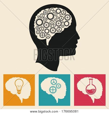 profile head brain development gears icons vector illustration eps 10