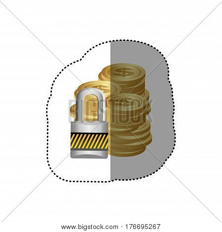 colorful silhouette sticker of stacked coins with padlock protection vector illustration