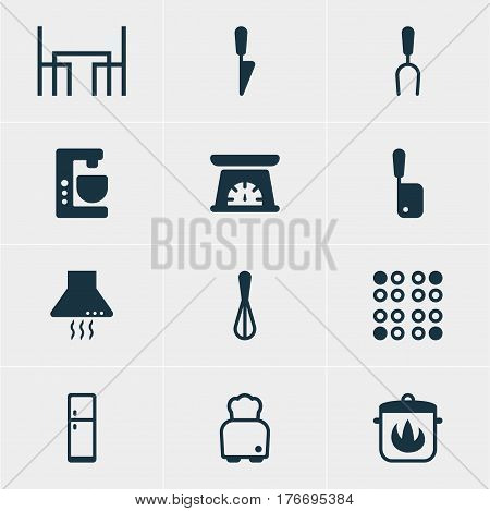 Vector Illustration Of 12 Kitchenware Icons. Editable Pack Of Extractor Appliance, Bread, Mixer And Other Elements.