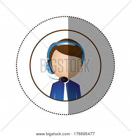 color sticker of circular frame with man call center vector illustration