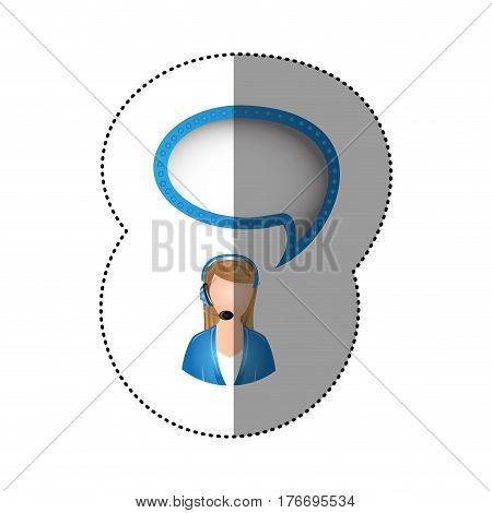 color sticker of circular frame with woman call center with cloud speech vector illustration