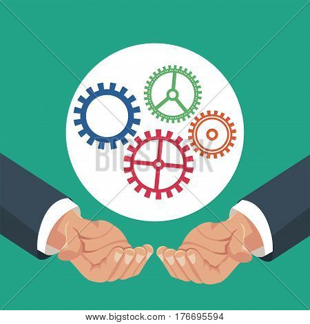 hands holding gears work vector illustration eps 10