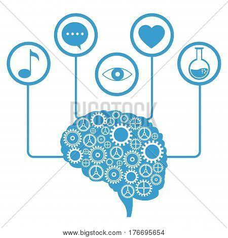 brain human gear learning icons vector illustration eps 10