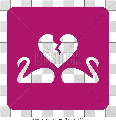 Divorce Swans interface icon. Vector pictogram style is a flat symbol perforation inside a rounded square shape, purple color.
