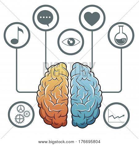 brain progress network media vector illustration eps 10