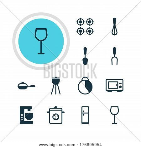 Vector Illustration Of 12 Restaurant Icons. Editable Pack Of Refrigerator, Tablespoon, Barbecue Tool And Other Elements.
