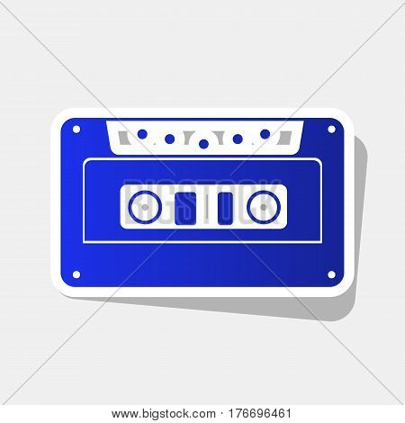 Cassette icon, audio tape sign. Vector. New year bluish icon with outside stroke and gray shadow on light gray background.