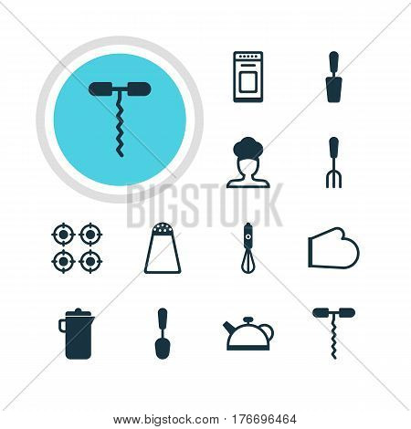Vector Illustration Of 12 Kitchenware Icons. Editable Pack Of Jug , Tablespoon, Handmixer Elements.