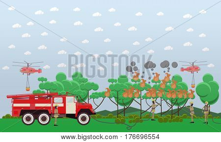 Vector illustration of fire engine, helicopters and firemen in protective clothing extinguishing fire in woodland. Fire in the forest design element in flat style.