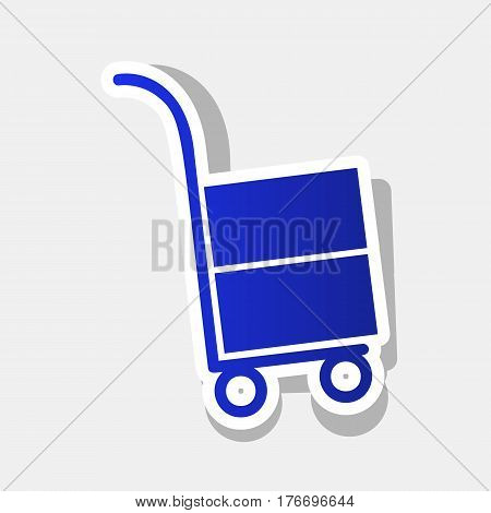 Hand truck sign. Vector. New year bluish icon with outside stroke and gray shadow on light gray background.