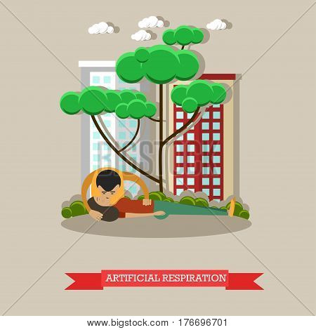 Artificial respiration vector illustration. Young man applying first aid to woman suffering from heart attack. Pulmonary ventilation or mouth-to-mouth resuscitation flat style design element.