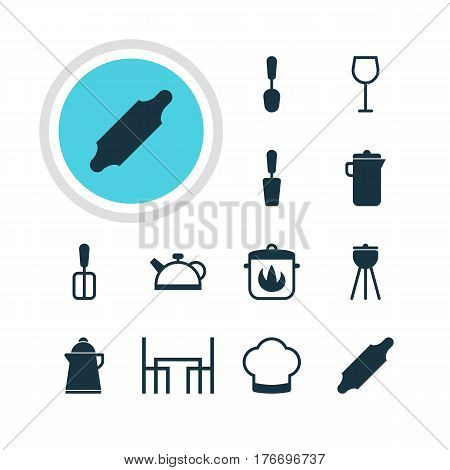 Vector Illustration Of 12 Restaurant Icons. Editable Pack Of Jug, Cooking Spade, Teakettle And Other Elements.