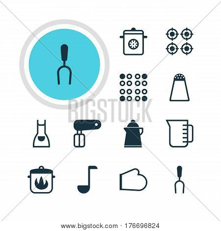 Vector Illustration Of 12 Restaurant Icons. Editable Pack Of Pepper Container, Soup Spoon, Stewpot And Other Elements.