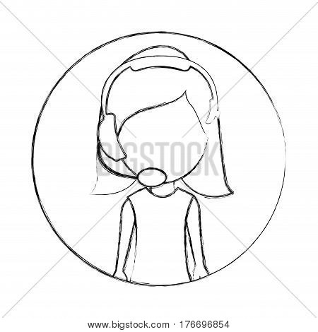 monochrome sketch of circular frame with woman call center vector illustration
