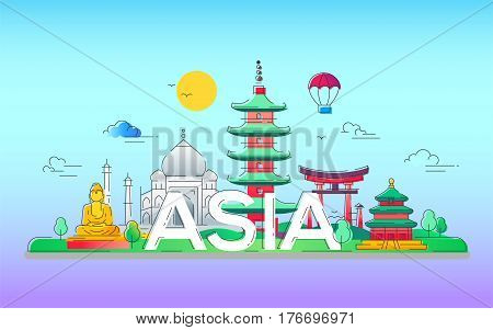 Asia - modern vector line travel illustration. Discover India, Japan, France, Israel. Have a trip, enjoy your vacation. Be on a journey. See landmarks like buddha , torii, mosque, taj mahal