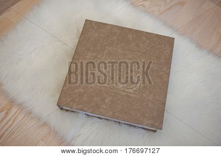 Elegant Gray Brown And White Leather Wedding Book Or Album.