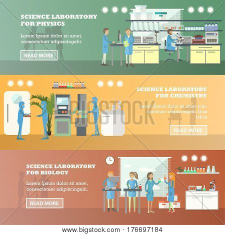 Vector set of scientific research laboratory horizontal banners. Science laboratory for physics, for chemistry and for biology concept design elements in flat style.