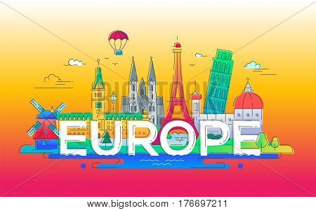 Europe - vector illustration of flat design composition with world famous landmarks icons