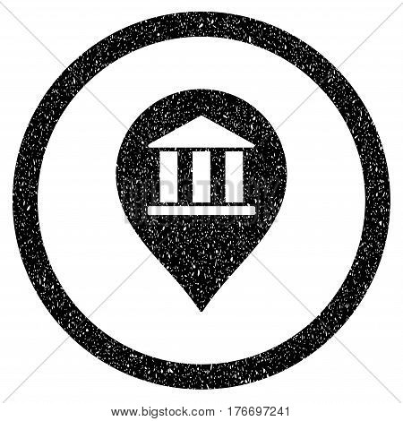 Rounded Bank Building Pointer rubber seal stamp watermark. Icon symbol inside circle with grunge design and dirty texture. Unclean vector black emblem.