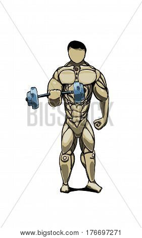 A very strong person works with a huge metal dumbbell with one hand. He is a bodybuilder and strong man, he loves power sports.