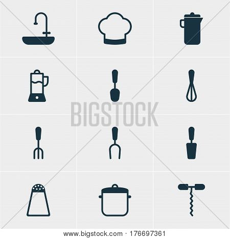 Vector Illustration Of 12 Kitchenware Icons. Editable Pack Of Corolla, Jug, Wine Opener And Other Elements.