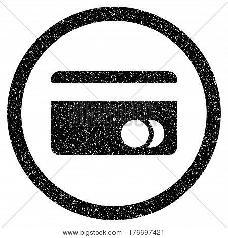Rounded Banking Card rubber seal stamp watermark. Icon symbol inside circle with grunge design and scratched texture. Unclean vector black emblem.