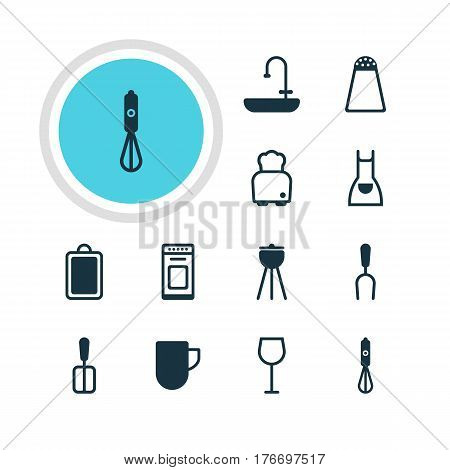 Vector Illustration Of 12 Cooking Icons. Editable Pack Of Barbecue Tool, Oven, Wine And Other Elements.