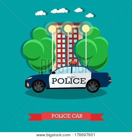 Vector illustration of police car, flat style design.