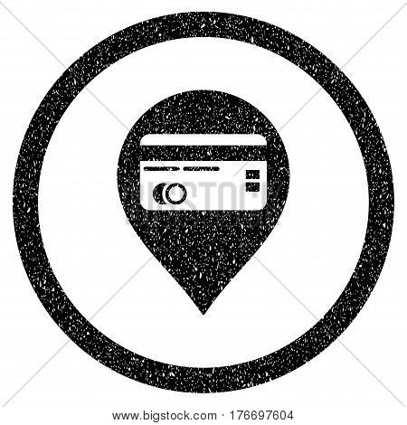 Rounded Credit Card Pointer rubber seal stamp watermark. Icon symbol inside circle with grunge design and unclean texture. Unclean vector black sign.