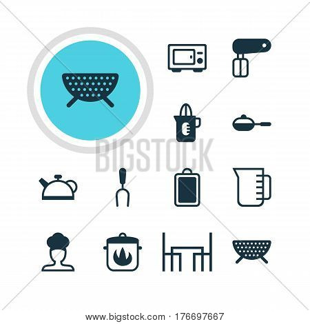 Vector Illustration Of 12 Cooking Icons. Editable Pack Of Shaker, Teakettle, Stewpot And Other Elements.